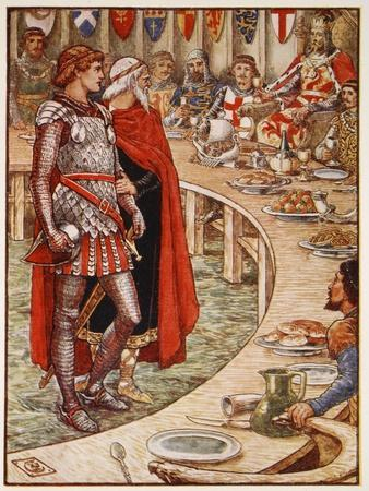 Sir Galahad is brought to Court of King Arthur, from 'Stories of Knights of Round Table'