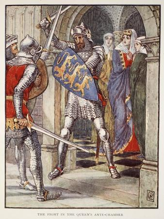 The fight in Queen's Ante-Chamber, from 'Stories of Knights of Round Table' by Henry Gilbert