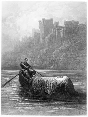 Body of Elaine on Way to King Arthur's Palace, Illustration, 'Idylls of King' by Alfred Tennyson