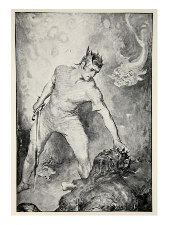 Beowulf shears off head of Grendel, from 'Hero Myths and Legends of British Race' by M.I. Ebbutt