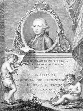 Sheet Music Cover with a Portrait of Felice Giardini, Engraved by Francesco Bartolozzi