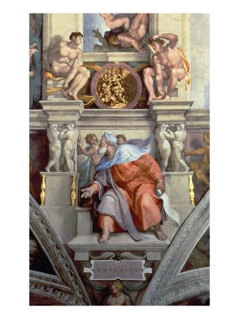 Sistine Chapel Ceiling: the Prophet Ezekiel, 1510