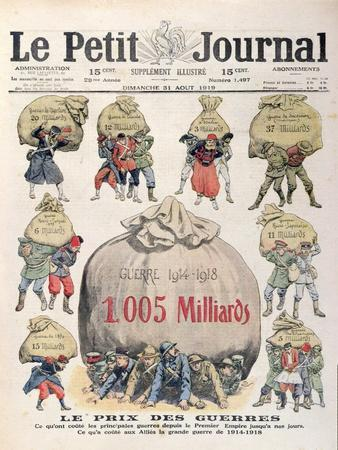The Cost of Wars from Napoleonic Period up to 1st World War, 'Le Petit Journal', 31st August 1919