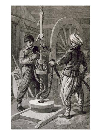 Petroleum Wells at Baku on Caspian: Boring a Petroleum Oil Well, from 'The Illustrated London News'