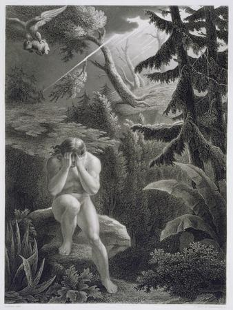 Adam Lamenting his Sinfulness, from a French edition of 'Paradise Lost' by John Milton