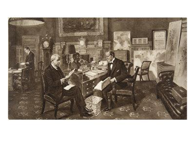 Mr. Winston Churchill in His Room at the Admiralty, in Consultation with Admiral of the Fleet Lord