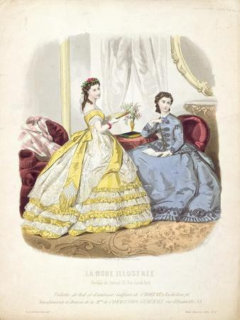 Fashion Plate Showing Ballgowns, Illustration from 'La Mode Illustree', 1864