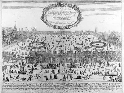 Frost Fair of Winter of 1683-4 on Thames, with Old London Bridge in Distance. C.1684