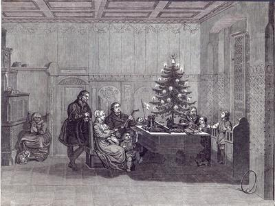 Christmas Eve in Germany: Martin Luther and his family, from 'The Illustrated London News'