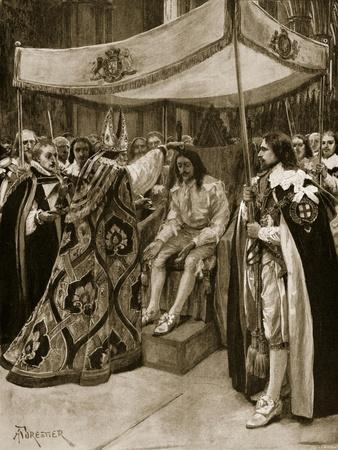 The Anointing of Charles I by George Abbot, Archbishop of Canterbury, at Westminster Abbey
