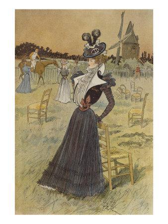 Fashion Plate, at Longchamp, Illustration from 'La Nouvelle Mode', 1897