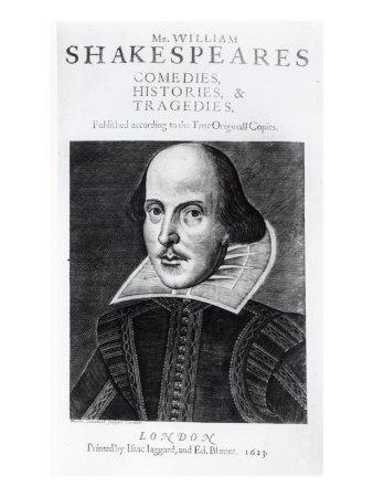 Titlepage of 'Mr. William Shakespeares Comedies, Histories and Tradgedies', Engraved by Droeshout
