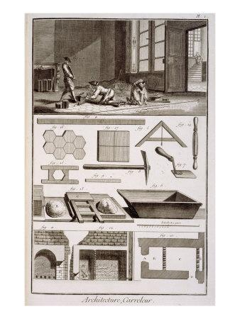 Tile-laying, from Diderot's 'Encyclopedie', 1751-72