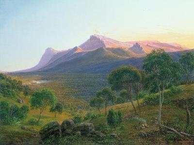 Aborigines by Fire before Mount William as seen from Mount Dryden in Grampians, Victoria, 1892