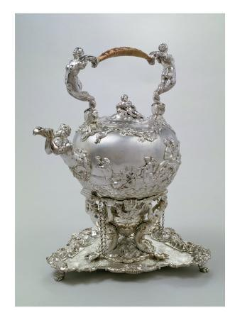 Tea Kettle and Stand by C. Kandler, London, 1730