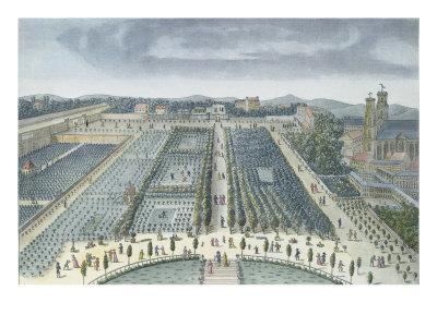 General View of Luxembourg Gardens in Paris, 1810, engraved by J.B. Chapuis