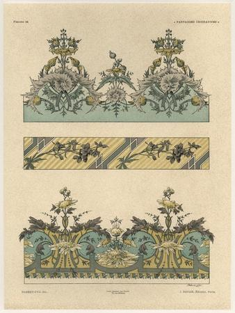 Floral Patterns, from 'Fantaisies decoratives', engraved by Gillot, Librairie de l'Art, Paris, 1887