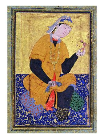 Portrait of Hamida Banu Begum, holding a seal, Illustrated folio from the 'Anthology of Mir Ali'