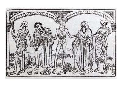 Death Taking the Monk and the Abbot, from the Danse Macabre, published Paris, 1485