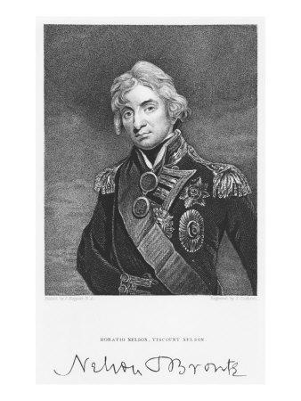 Portrait of Admiral Horatio Nelson with his Signature, engraved by John Cochran