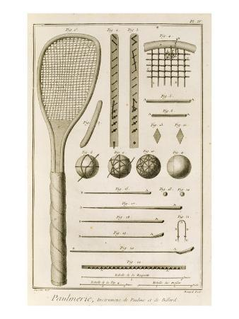 Tennis Racquets and Billiard Cues, from the 'Encyclopedia' by Denis Diderot