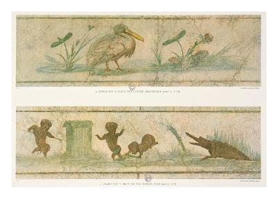 Pelicans, Acquatic Plants and Pygmies Fleeing Before a Crocodile
