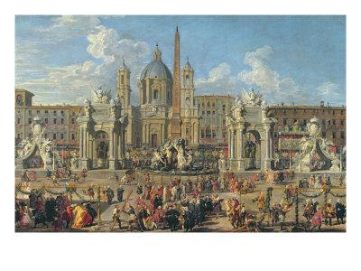 Preparation for Firework Display at Piazza Navona, Rome, to Celebrate the Birth of Dauphin, 1729
