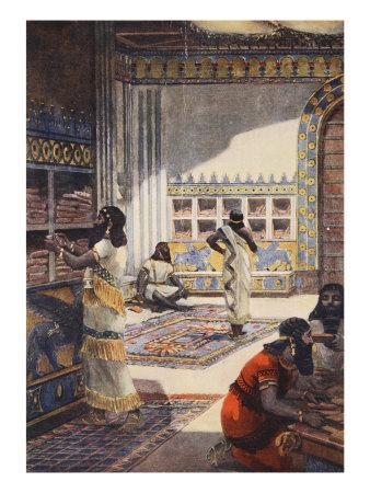 Famous Library of Kinf Ashur-Bani-Pal, at Nineveh, Illustration 'Hutchinson's History of Nations'