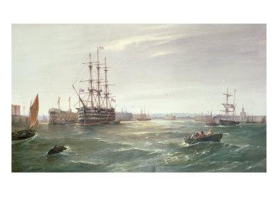 Portsmouth Harbour: HMS 'Victory' among the Hulks, 1892