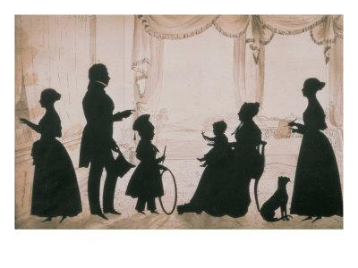 Silhouette of Camsie Family of O'Harrabrook, Ballymoney, Co. Antrim, 1838, cut by Augustin Edouart