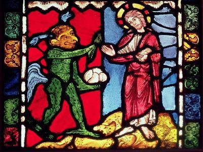 Window from Troyes Cathedral showing the Temptation of Christ in the Desert, c.1225