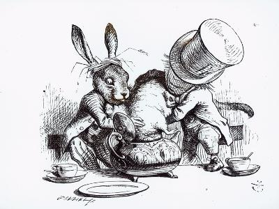 Mad Hatter, March Hare and Dormouse in Teapot, Illustration, 'Alice's Adventures in Wonderland'