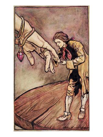Original Watercolour Illustration for 'Gulliver's Travels' by Swift, Gulliver in Brobdingnag, 1909