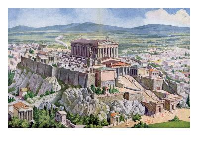 The Acropolis in Athens in Ancient Greece, 1914