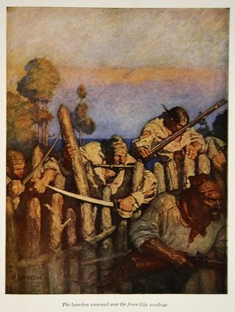 The boarders swarmed over the fence like monkeys, an illustration from 'Treasure Island' by Robert