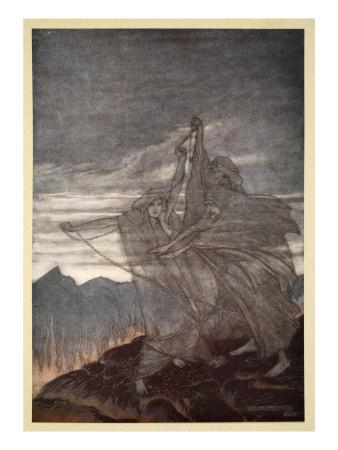 The norns vanish, illustration from 'Siegfried and the Twilight of the Gods', 1924