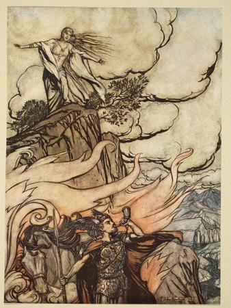 Siegfried leaves Brunnhilde in search of adventure, from 'Siegfried and the Twilight of Gods'