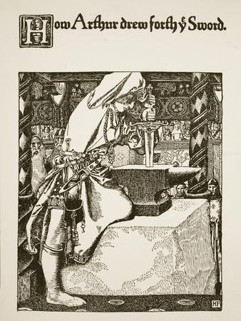 How Arthur drew forth ye sword, illustration from 'The Story of King Arthur and his Knights', 1903