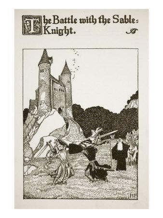 Battle with the Sable Knight, illustration from 'The Story of King Arthur and his Knights', 1903