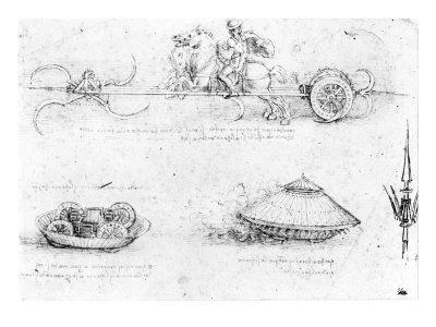 Design for a Scythed Chariot and Armoured Car, c.1487