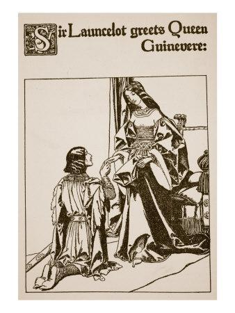 Sir Launcelot Greets Queen Guinevere, Illustration from 'The Story of Champions of Round Table'