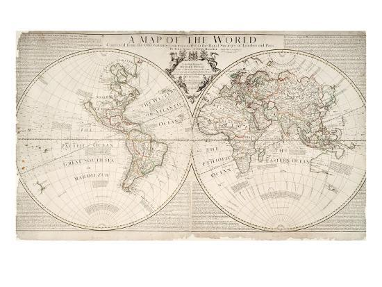 A Map Of World Corrected From The Observations To The Royal