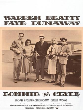 Bonnie and Clyde, Danish Movie Poster, 1967