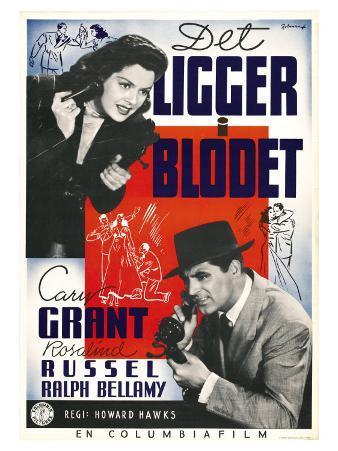 His Girl Friday, Swedish Movie Poster, 1940