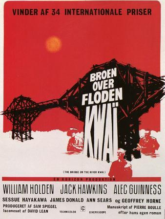 Bridge on the River Kwai, Danish Movie Poster, 1958