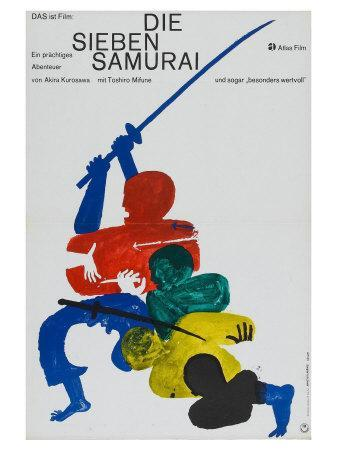Seven Samurai, German Movie Poster, 1954