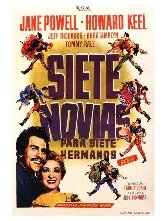 Seven Brides for Seven Brothers, Spanish Movie Poster, 1954