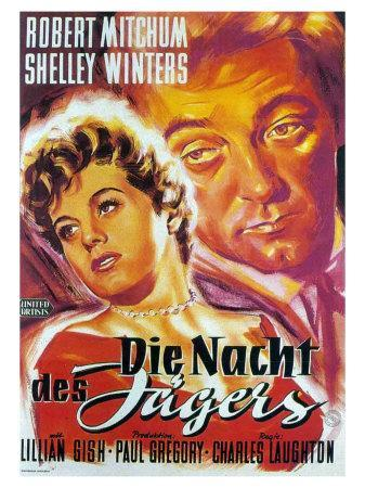 The Night of the Hunter, German Movie Poster, 1955