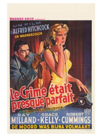 Dial M For Murder, Belgian Movie Poster, 1954