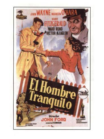 Vintage John Wayne movie advert poster reproduction. The Quiet Man